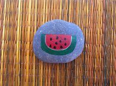 Watermelon Hand Painted Natural Beach Rock Garden Marker by DelicatelyDangerous