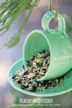 Teacup Bird Feeders DIYS Best Backyard Ideas