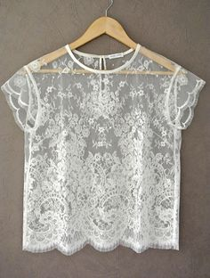 Ivory Short Sleeve French Calais Lace Blouse Lace by HiromiParis