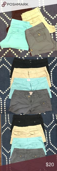 """Mossimo Shorts Bundle Bundle of 4 mossimo brand shorts from Target. Black, khaki and blue are all the same style. The grey shorts are a little different. The grey shorts are size 7 and the others have no size tag, but I would say these are all about 2-4 size. They are smaller than all of my other size 4 shorts. Here are approx. measurements for more accurate size reference: 16"""" across waistband, 19"""" across hip area, 10"""" from waistband to hem & 2 1/2"""" inseam. Mossimo Supply Co. Shorts"""