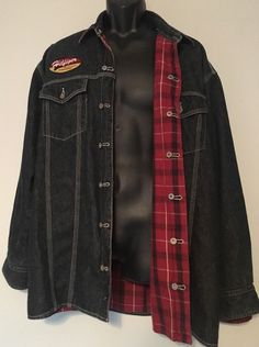 Tommy Hilfiger Motorcycle Denim Shirt/Jacket Men's L Reversible Red Plaid Heavy #TommyHilfiger #ButtonFrontShirtJacket