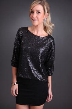 Soft in Black Sequins Top only $39.99