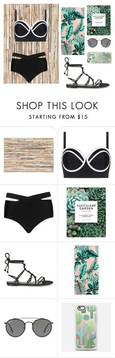 """""""S. U. M. M. E. R."""" by foodiefashion ❤ liked on Polyvore featuring Brewster Home Fashions, Cactus, Chronicle Books, Rebecca Minkoff, PBteen, Ray-Ban, Casetify, ootd, swimsuit and 2017"""