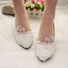 [AU$37.00] Women's Patent Leather Kitten Heel Closed Toe Pumps With Imitation Pearl Applique