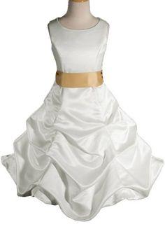 AMJ Dresses Inc Ivory/gold Flower Girl Wedding « Dress Adds Everyday