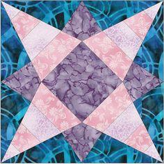 Geometric Star 4 Stripes Paper Piece Template Quilting Block Pattern PDF