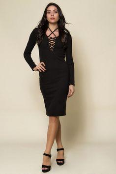 Rib ελαστικό midi φόρεμα με κορδόνια