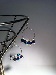 Royal Blue Crystal Hoop Earrings $6.00