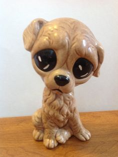 Ceramic sad eyed dog figurine, vintage, 1980s, very cute!