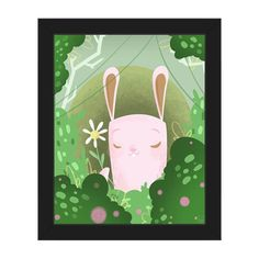 "Click Wall Art 'Flower from Bunny' Framed Graphic Art Size: 22.5"" H x 18.5"" W x 1"" D, Frame Color: Black"