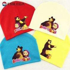 Masha Và Gấu Phim Hoạt Hình Bé Mũ Bông Kintted Beanie Mũ cho bé boy cô gái mùa thu mùa đông bé mũ mũ bé phụ kiện