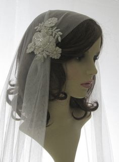 1920s style wedding  veil   couture bridal by SarahMorganBridal, £185.00 This would be easy to do with one of the grape appliques from Grandmother Benner's dress.  We could have it made or I could make it. I made your First Communion Veil.