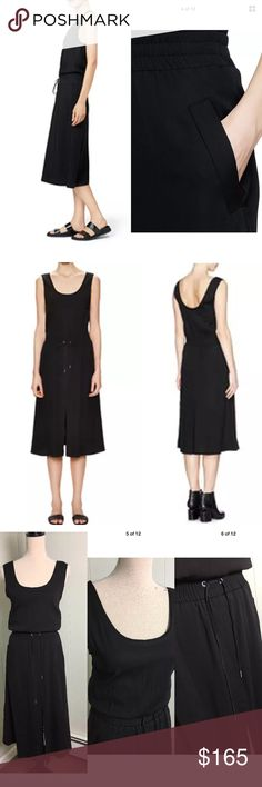 """HELMUT LANG Revolve Drawstring Waist Crepe Dress Offering effortless everyday styling without a moment's thought, this Revolve dress from Helmut Lang features a drawstring waistband for versatile wear. Revolve. Black crepe. Raw-edged neckline and armseye. Elasticated waistband with drawstring. Low back. Slip-on style. Two side slant pockets. High front split hem. 95% Viscose, 5% Elastane.  Length 45"""", elastic waist 13"""" armpit to armpit 15"""" Helmut Lang Dresses Midi"""