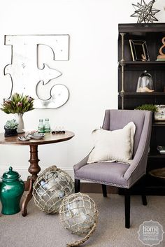 The perfect fit: The mirrored 'E' - purchased from The Country Trader 10 years ago - draws the eye to a corner nook where Oliver and Jesse love to sit and play chess. Corner Nook, Old And New, Home Furnishings, Beautiful Homes, Perfect Fit, Living Room, Chess, 10 Years, Modern