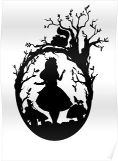 Silhouette - Alice In Wonderland Poster