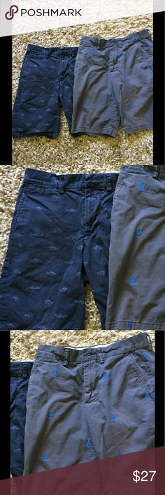 """Old Navy khaki chino shorts embroidered lobster 28 Posh is now a family affair - I recruited my son to take photos of the stuff he's outgrown :-) such as these two pairs of shorts from Old Navy. Navy blue with light blue fish screen printed. 28 slim, 9"""" inseam. Weathered blue embroidered with bright blue lobsters, 28 ultimate slim, 10"""" inseam. Seems like I JUST bought them! I also have some size 28 waist Hollister boot and slim boot listed so check those out to bundle and save! Old Navy…"""