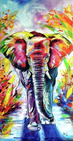 Colorful Elephant Walking is a painting by Kovacs Anna Brigitta which was uploaded on November 25th, 2017. The painting may be purchased as wall art, home decor, apparel, phone cases, greeting cards, and more. All products are produced on-demand and shipped worldwide within 2 - 3 business days.