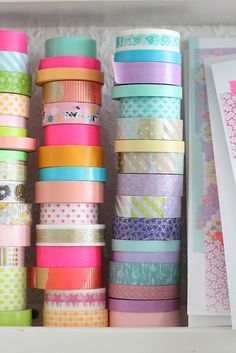 Bright colored washi tape for decor or gift wrapping.