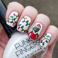 Santa Nails, Xmas Nails, Holiday Nails, Seasonal Nails, Valentine Nails, Disney Christmas Nails, Christmas Nail Art Designs, Jamberry Christmas, Christmas Design