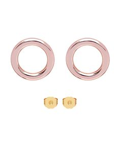 Maria Francesca Pepe flat hoops with standard stud closure. Blush Color, Jewelry Collection, Jewelry Making, Stud Earrings, Candy, Flat, Gold, Brass, Closure