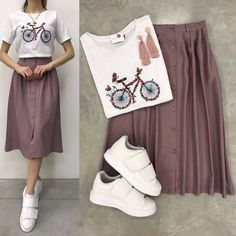 Which one 1 2 3 4 5 6 7 or 8 write your comment tag your friends fashiions lover fashion style stylish outfits con tenis fila look para hombres y mujeres Modest Outfits, Skirt Outfits, Modest Fashion, Cute Fashion, Skirt Fashion, Hijab Fashion, Stylish Outfits, Korean Fashion, Summer Outfits