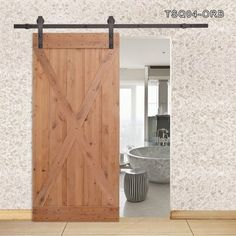 Calhome 36 in. x 84 in. X Overlay Primed Natural Wood Finish Sliding Barn Door with Sliding Door Hardware Kit Wood Doors, Natural Wood Finish, Sliding Door Track, Doors Interior, Door Hardware, Indoor Barn Doors, Custom Wood, Wood Doors Interior, Custom Wood Doors