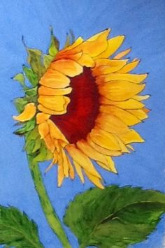 "Sunflower Art - ""Blue Skies Smilin' at Me"" - Painting by Lorraine Skala - Please visit my Etsy Shop to purchase notecards or prints"