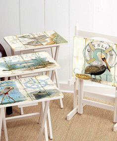 Look what I found on #zulily! Shore Bird TV Tray Stand Set #zulilyfinds Could be fun up cycle for trays from a yard sale