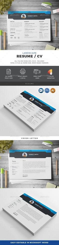 Buy Landscape Resume by generousart on GraphicRiver. Features of Resume Template Color Versions Paper Size With Bleeds Quick and easy to customize templates Change Cu. Resume Cv, Resume Design, A4 Paper, Paper Size, Resume Template Free, Templates, Perfect Resume, User Guide, Word Doc