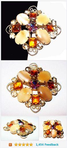 "Amber Caramel Rhinestone Brooch Vanilla Givre Ovals Gold Metal Scrolled Hearts 2.5"" Vintage https://www.etsy.com/BrightgemsTreasures/listing/574671485/amber-caramel-rhinestone-brooch-vanilla?ref=listing-shop-header-1"
