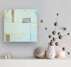 MYTHOS original abstract modern painting - gallery fine art - contemporary interior design - ooak home wall decor - white silver blue