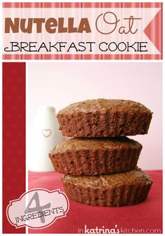 4 Ingredient Nutella Oat Breakfast Cookies #Recipe | www.inkatrinaskitchen.com