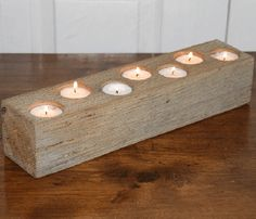 White Oak Candle Holder by Industrial Rewind >> Would be a lovely centerpiece!