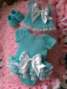 Crochet Baby Girl Crochet Onsie set with lace tr Crochet Dress Girl, Crochet Baby Dress Pattern, Baby Girl Crochet, Crochet Baby Clothes, Newborn Crochet, Crochet For Kids, Hand Crochet, Crochet Baby Outfits, Crochet Baby Dresses
