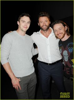 Nick Hoult, Hugh Jackman and James McAvoy at Comic Con.  July 20, 2013