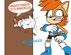 NO. KNUCKLES! Sally Acorn, Speed Of Sound, Comics Universe, Funny Pictures, Funny Pics, Sonic The Hedgehog, Sprites, Video Games, Fictional Characters