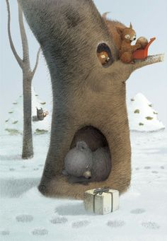 Renata Liwska, Holiday surprise - how cute are these woodland creatures getting holiday gifts!