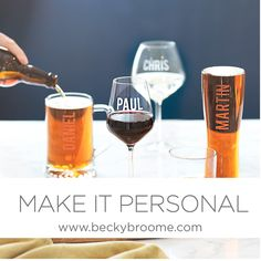 Becky Broome brings you a world of bespoke gifts and home accessories, designed & hand etched in England. Glass Etching, Pint Glass, Red Wine, Barware, Alcoholic Drinks, Make It Yourself, Tableware, How To Make, Design