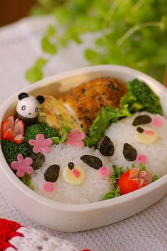 more panda bento - love the little panda sauce container