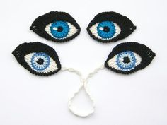 Crochet PATTERN Eyes BOOKMARK and applique / motif for dolls, amigurumi or to decorate iPad cover - Original design by TheCurioCraftsRoom from TheCurioCraftsRoom on Etsy Studio Crochet Eyes, Crochet Motifs, Crochet Stitches, Free Crochet, Knit Crochet, Crochet Patterns, Ravelry Crochet, Crochet Coaster, Crochet Crafts