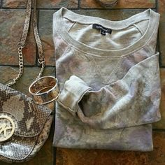 """Gray, pink and lavender floral top ☆☆HP☆☆ Host pick 2/6.  Gray sweatshirt style top jazzed up with pink and lavender flowers. Perfect casual top. Long sleeves. 100% cotton.  Bust (laying flat) 19 1/4"""" Length 24 1/2""""  No trades or PP.  Save even more with a bundle discount! Tops"""