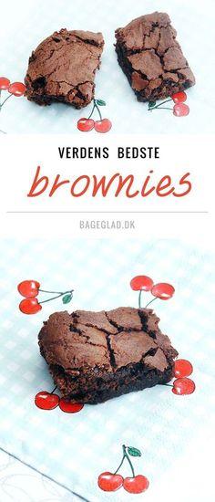 Svampede lækre chokolade brownies opskrift fra Bageglad.dk