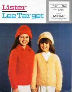 girls mohair jacket & hat knitting pattern pdf childrens mohair cardigans 24-34 inch mohair DK light worsted 8ply Instant Download by coutureknitcrochet on Etsy