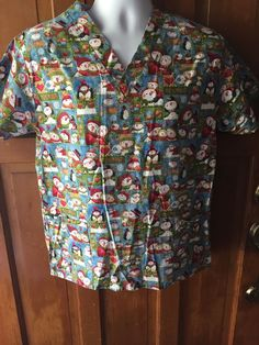 WOMEN'S WS Fundamentals SCRUB TOP Size Small Winter, Snowmen, Christmas, Nursing #WSFundamentals