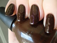 Sinful Colors Coffee stamped with China Glaze Swanky Silk and No Plane Jane (Cheeky Happy Nails plate) *click for more*
