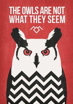 Twin Peaks poster. Ilustración buho. David por TheSeventhArtShop