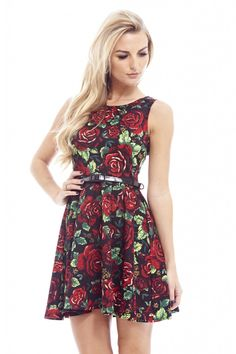Scuba Rose Printed Skater - AX Paris Paris Dresses d4c743c21b93