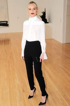 Fashion Week's Best Celebrity Photos From NYFW, Paris and Beyond - Kate Bosworth in a white top and black high-waisted pants