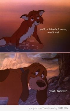 Always always always cry at this film. Saddest Disney film ever - The Fox And The Hound Disney Amor, Arte Disney, Disney Love, Disney Magic, Disney 2015, Disney And Dreamworks, Disney Pixar, Punk Disney, Disney Channel
