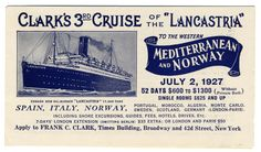 """Clark's 3rd Cruise of the """"Lancastria"""" (Luggage Label) by Artist Unknown    Shop original vintage #posters online: www.internationalposter.com."""